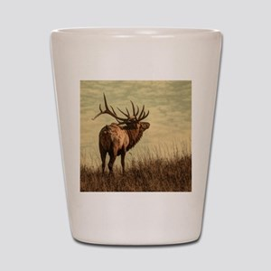 rustic western wild elk Shot Glass