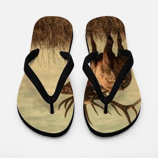 rustic western wild elk Flip Flops