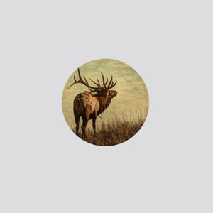 rustic western wild elk Mini Button