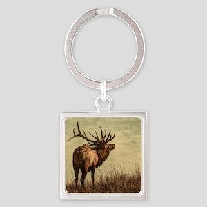 rustic western wild elk Square Keychain