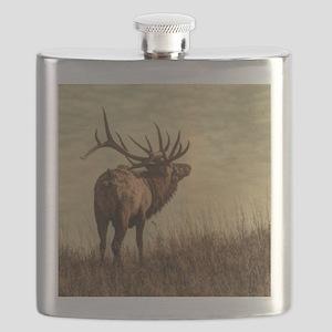 rustic western wild elk Flask