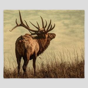 rustic western wild elk King Duvet