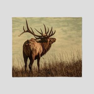 rustic western wild elk Throw Blanket