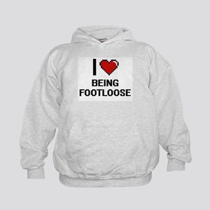I Love Being Footloose Digitial Design Kids Hoodie