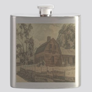 western country red barn Flask