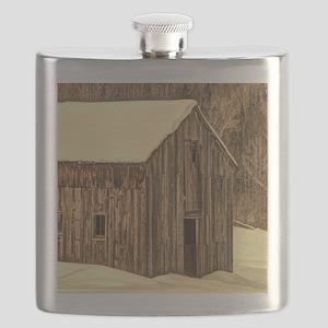 western winter old barn Flask