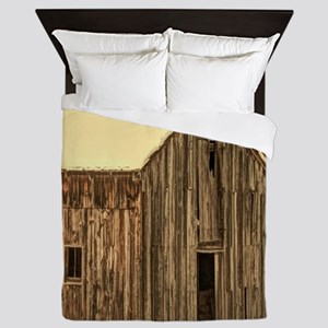western winter old barn Queen Duvet