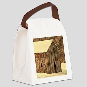 western winter old barn Canvas Lunch Bag
