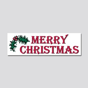 Merry Christmas Holly Car Magnet 10 x 3