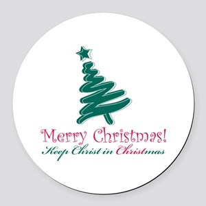 Merry Christmas Tree Round Car Magnet