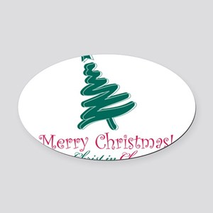 Merry Christmas tree Oval Car Magnet