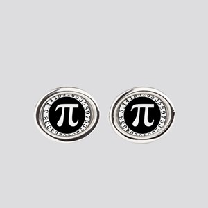 Pi sign in circle Oval Cufflinks