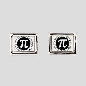 Pi sign in circle Rectangular Cufflinks