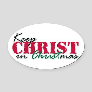 Keep Christ rs Oval Car Magnet