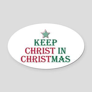 Keep Christ star Oval Car Magnet
