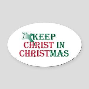 Keep Christ Cross Oval Car Magnet
