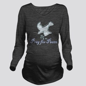 pray_peace_dovebs Long Sleeve Maternity T-Shir