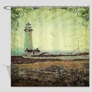 coastal nautical vintage lighthouse Shower Curtain