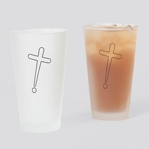 Exclamation-Cross whitewhite Drinking Glass