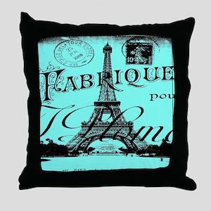 turquoise eiffel tower paris Throw Pillow