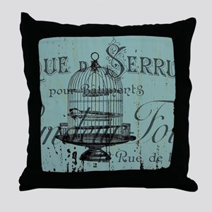 french scripts vintage birdcage Throw Pillow