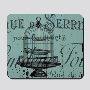 french scripts vintage birdcage Mousepad