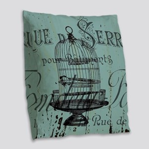 french scripts vintage birdcag Burlap Throw Pillow