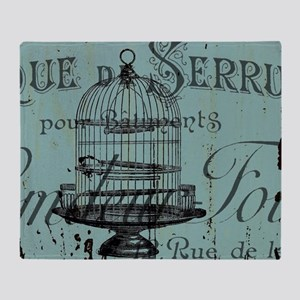 french scripts vintage birdcage Throw Blanket