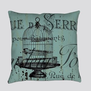 french scripts vintage birdcage Everyday Pillow