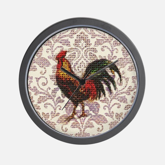 french country vintage rooster Wall Clock