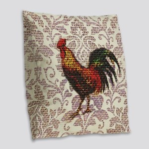 french country vintage rooster Burlap Throw Pillow