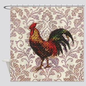 french country vintage rooster Shower Curtain