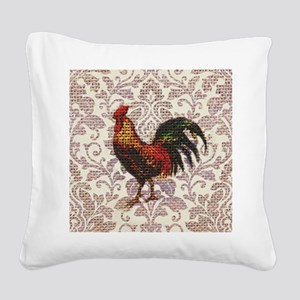 french country vintage rooste Square Canvas Pillow