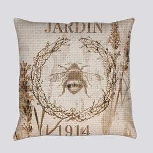 burlap french vintage bee Everyday Pillow