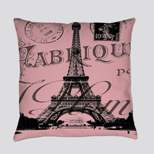 modern girly pink paris Everyday Pillow