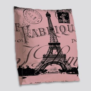 modern girly pink paris Burlap Throw Pillow