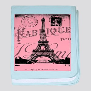 modern girly pink paris baby blanket