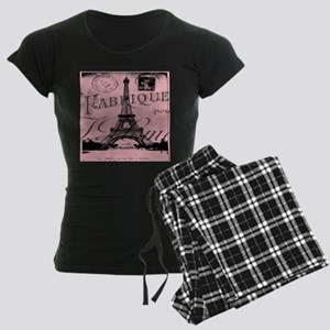 modern girly pink paris Women's Dark Pajamas