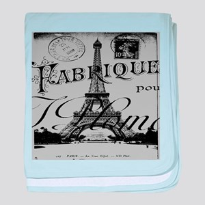 shabby chic grey paris eiffel tower baby blanket