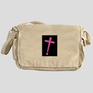 Exclamation-Cross pinkblack Messenger Bag