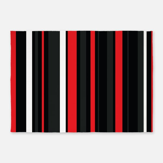 Red white and black. 5'x7'Area Rug