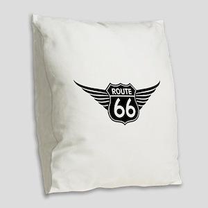 Route 66 Burlap Throw Pillow