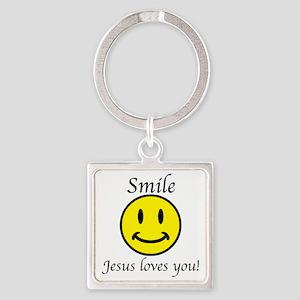 Smile Jesus Square Keychain