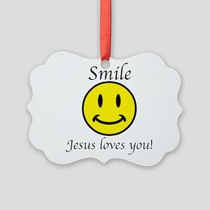 Smile Jesus Picture Ornament