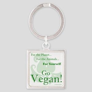 Go Vegan! Square Keychain