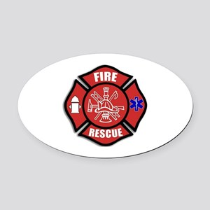 Fire Rescue Oval Car Magnet