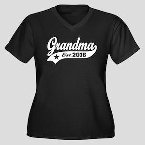 Grandma Est. Women's Plus Size V-Neck Dark T-Shirt