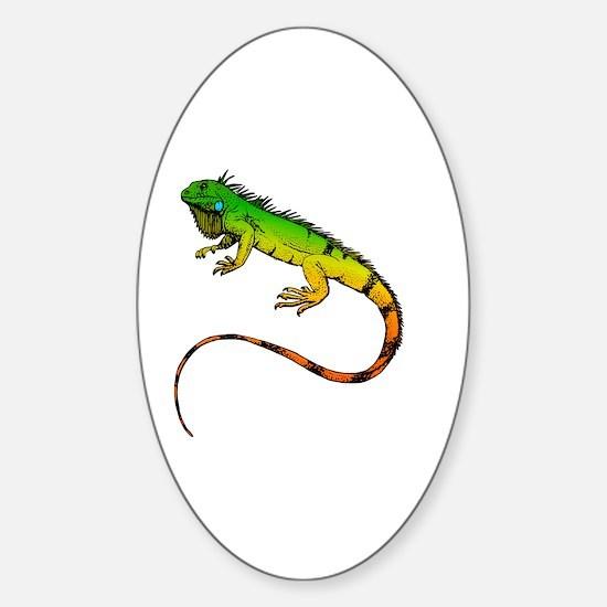 Green Iguana Sticker (Oval)