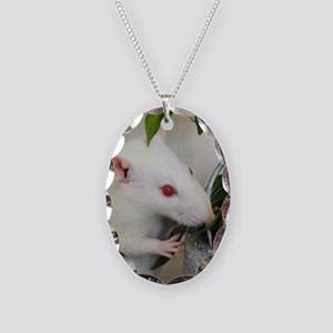 White Pet Rat with Rose Necklace Oval Charm