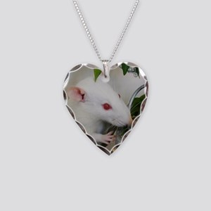 White Pet Rat with Rose Necklace Heart Charm